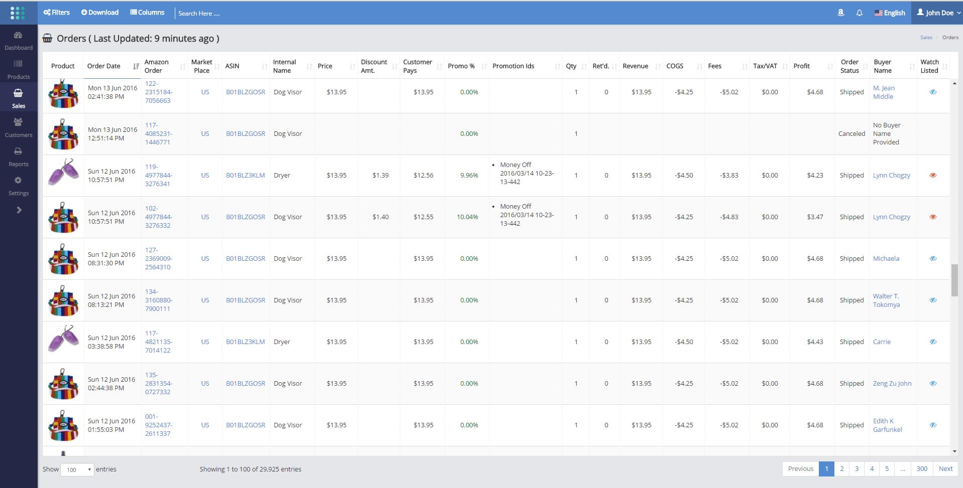 Sellerlegend real time data
